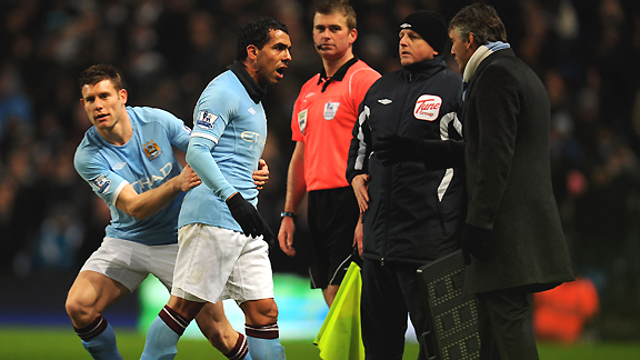 Carlos Tevez clashes with Manchester City manager Roberto Mancini